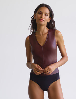 Sale: Faux Leather V-Neck Bodysuit