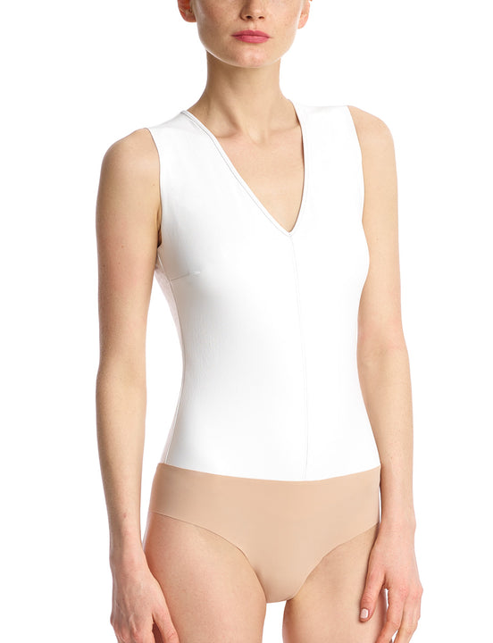 FAUX LEATHER V-NECK BODYSUIT white