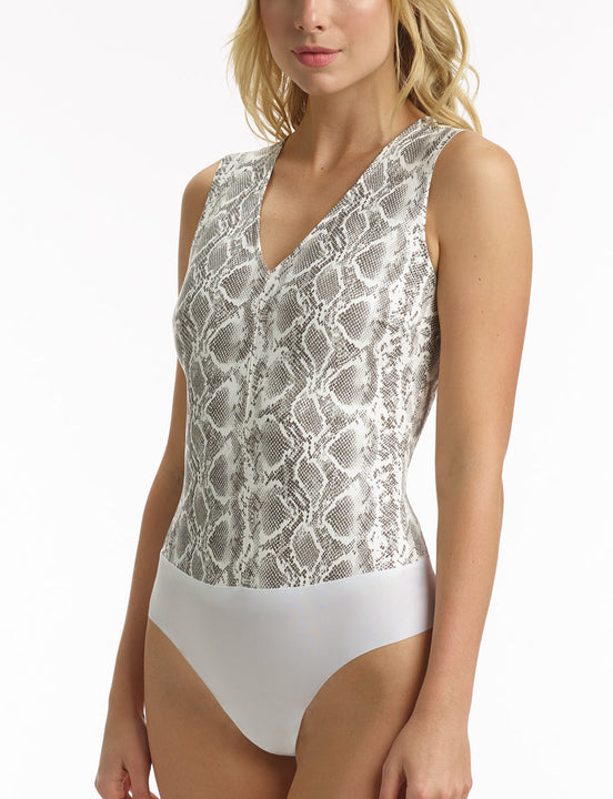 Womens white snake faux leather bodysuit