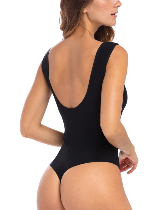 Butter Lifted Backless Bodysuit Black