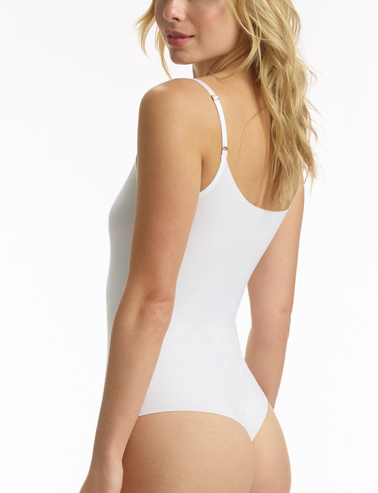 women's white cotton cami bodysuit