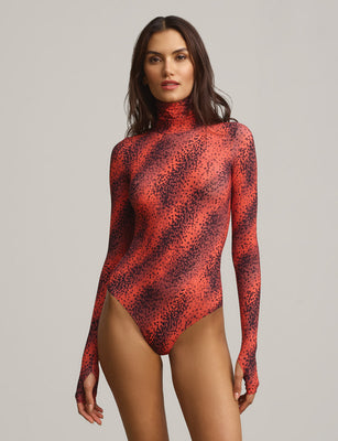 Classic Printed Turtleneck Bodysuit With Thumbholes