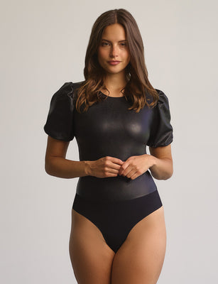 Sale: Faux Leather Puff Sleeve Bodysuit