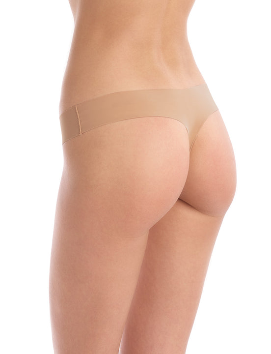 seamless raw-cut thong in toffee