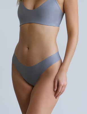 butter midrise thong french grey