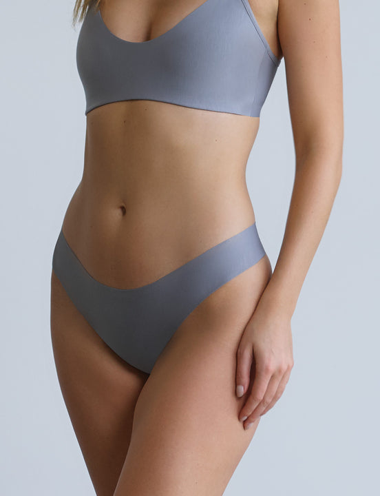 butter mid rise thong french grey