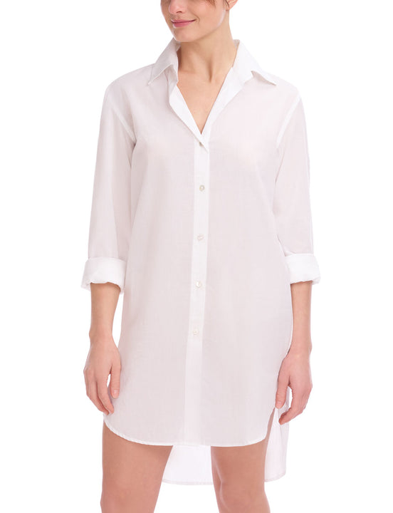 White Cotton Voile Oversized Shirt