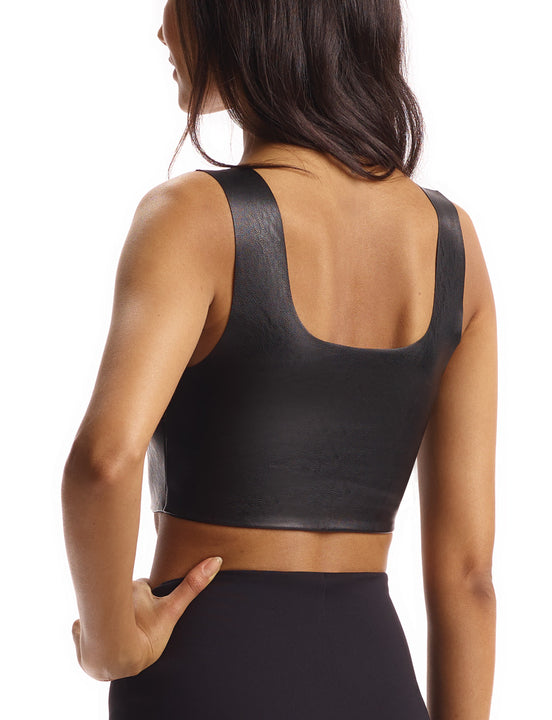 women's black faux leather crop top