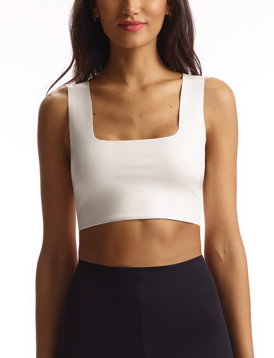women's white faux leather crop top