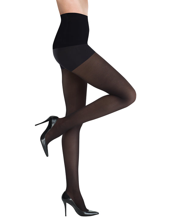 Semi Opaque Control Tights in Black