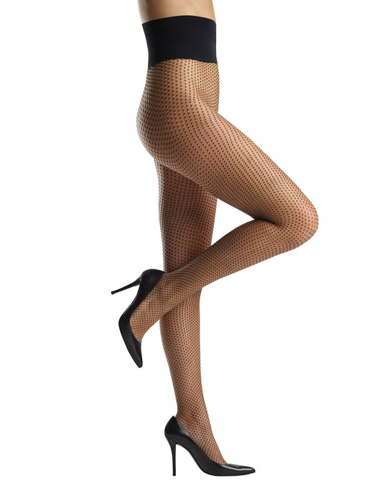 black criss-cross net tights