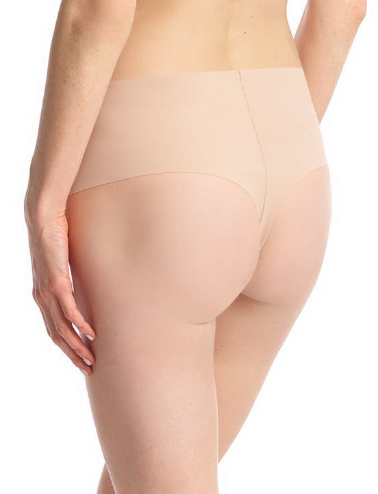 high rise thong in beige