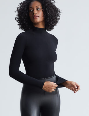 Ballet Mockneck Long Sleeve Bodysuit Thong
