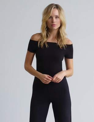 black cap sleeve bodysuit