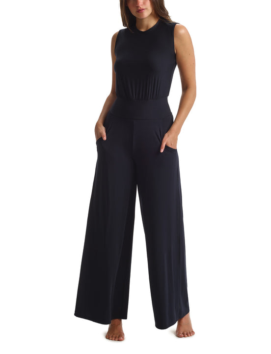 women's black modal wide leg jumpsuit