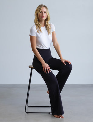 black wide leg neoprene pant