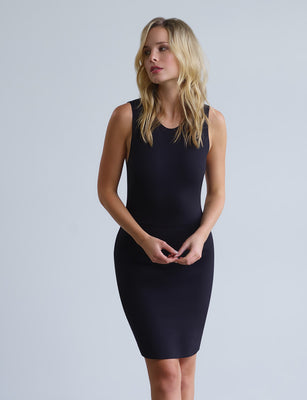 women's black neoprene dress