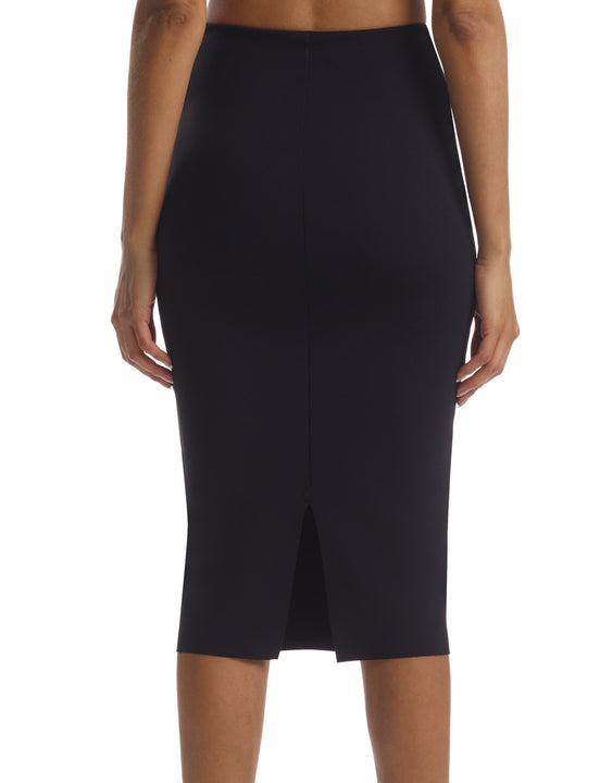 Neoprene Midi Skirt in Black