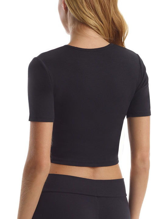 Luxury Rib Cropped Tee in Black