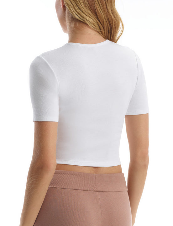 Luxury Rib Cropped Tee in White
