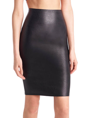 women's faux leather pencil skort