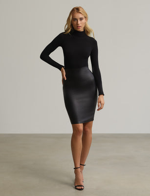 Faux Leather Pencil Skort