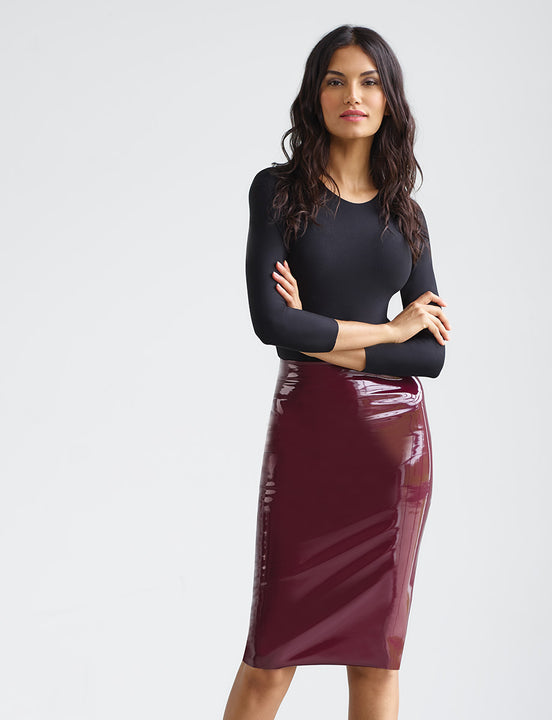 Sale: Faux Patent Leather Midi Skirt