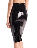 faux patent leather midi skirt