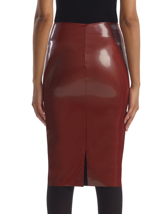 Faux Patent Leather Skirt in Sienna