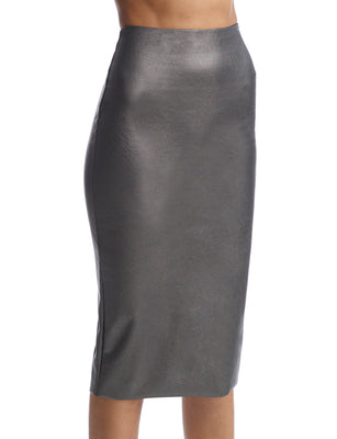 Women's faux leather midi skirt in gunmetal