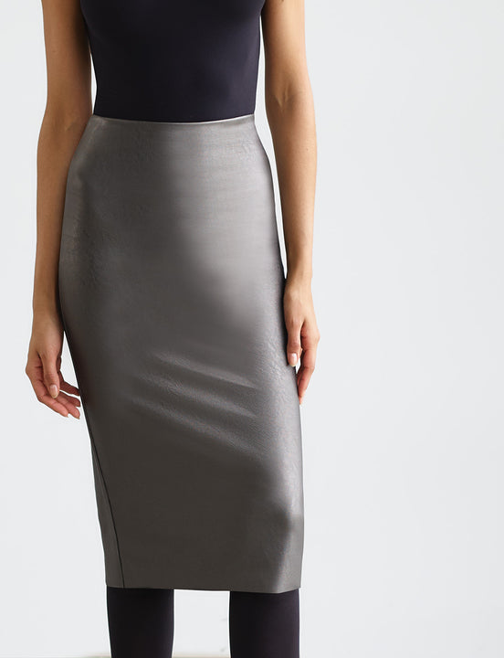 Sale: Faux Leather Midi Skirt