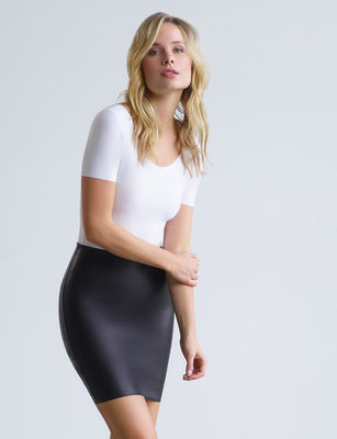 Faux Leather Mini-Skort