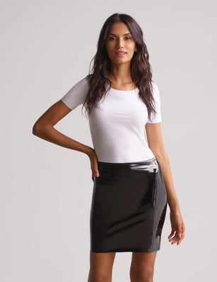 faux patent leather mini skirt black