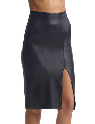 Women's Faux Leather Midi Skirt With Slit