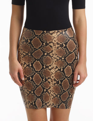 faux leather animal skort snake