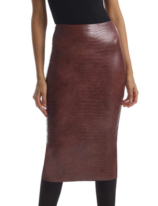 Faux Leather Animal Midi Skirt in Brown Croc