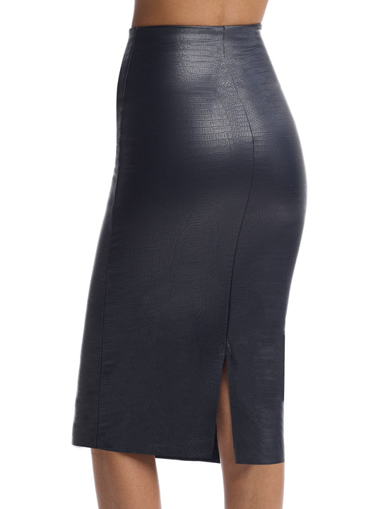 croc print faux leather midi skirt
