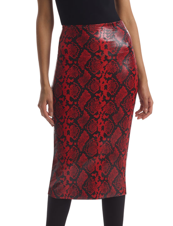 Faux Leather Animal Midi Skirt in Red snake