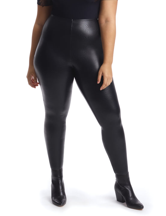 Faux Leather Legging with Perfect Control Plus Size in Black