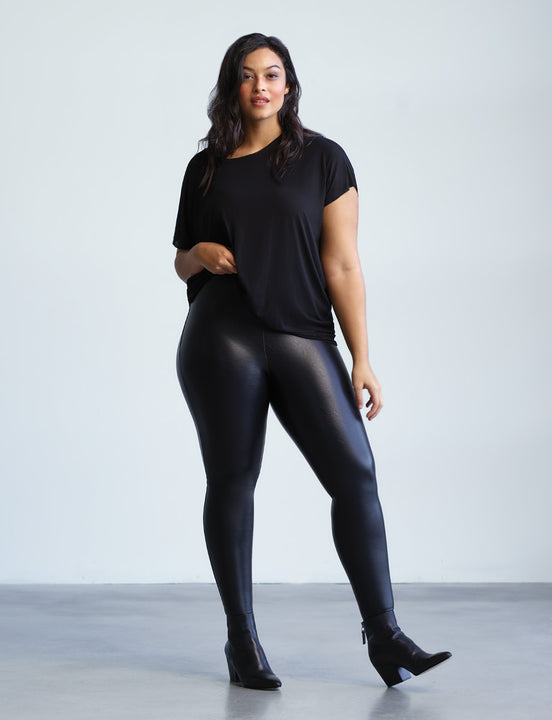 Faux Leather Legging with Perfect Control +