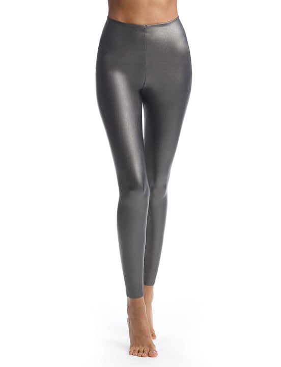 faux leather legging in gunmetal