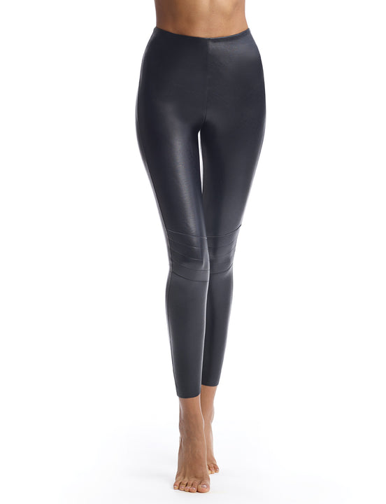 faux leather moto legging with perfect control in black