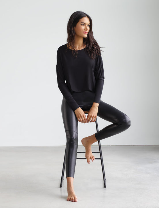 faux leather moto legging with perfect control black