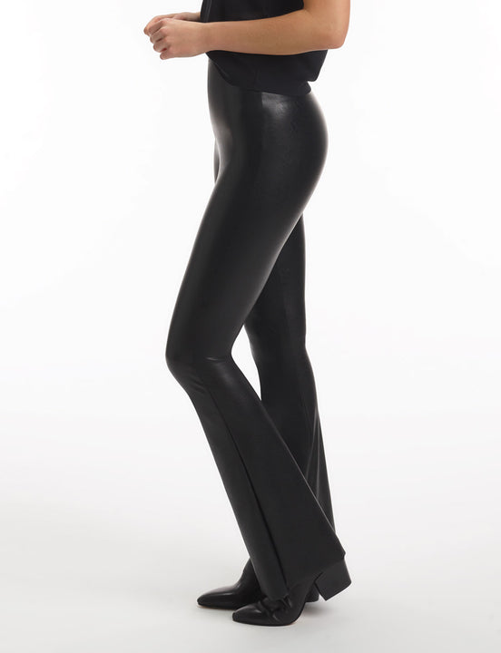 faux leather flared legging with perfect control black