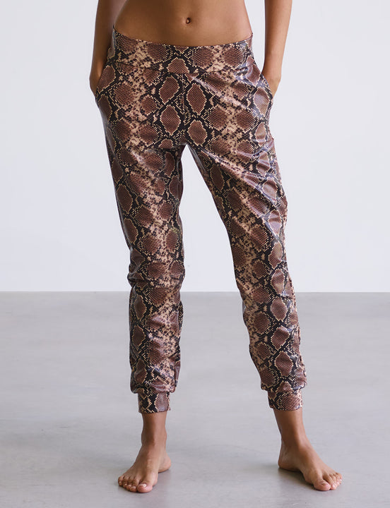 faux leather animal jogger in snake