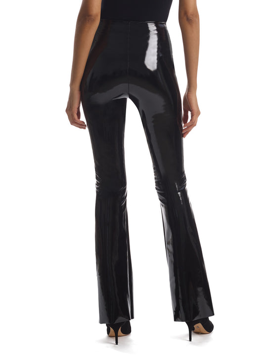 women's faux patent leather flare legging