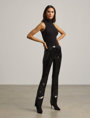 Faux Patent Leather Flare Legging