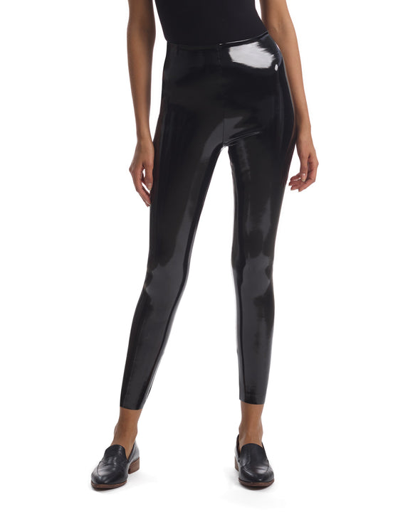 7/8 faux patent leather legging black