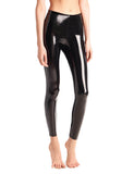 faux patent legging black