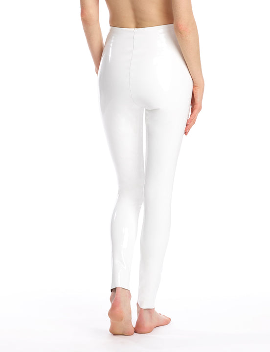 faux patent leather legging in white